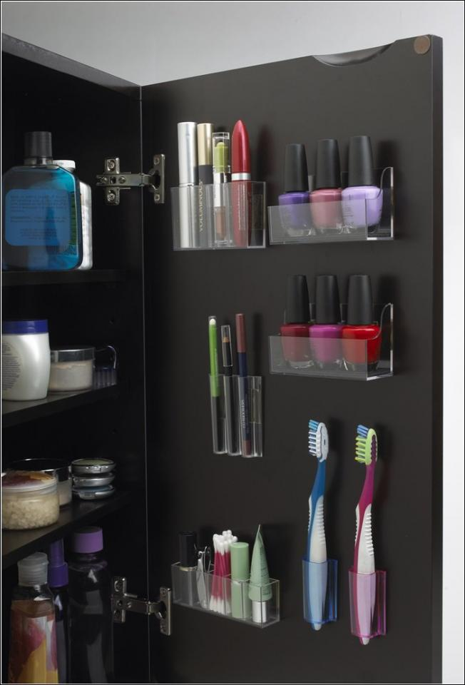 #1 Small Stick-on Storage Containers optimize your cabinet door space.
