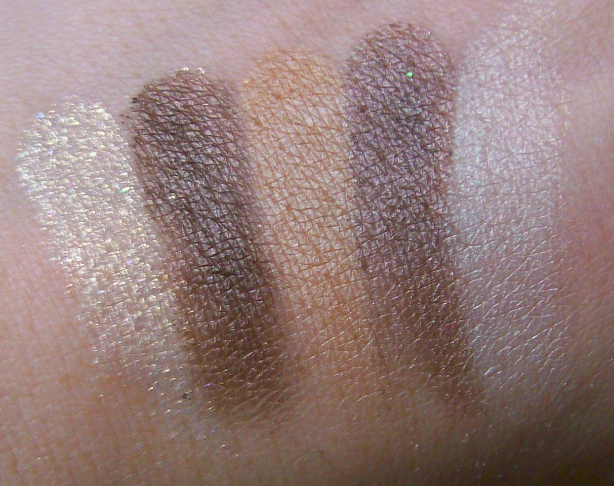 Here are more gold silvers and bronze colors that would work great on a brown eyed girl!