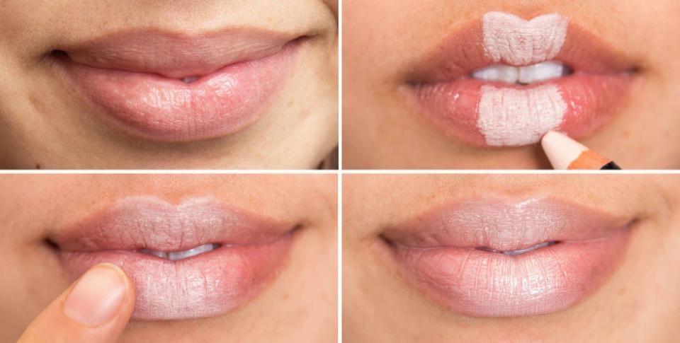 14. Create the illusion of plumper lips by filling in the middle section with a light concealer, blending it out with the warmth from your fingertip, and finishing with a nude lip gloss.