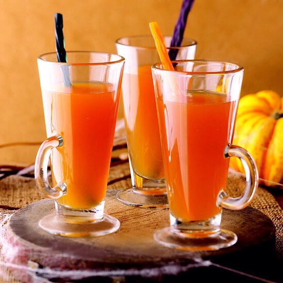 Apple Cider Punch Fruit juices, apple cider, and sparkling white grape juice make up this tasty Halloween concoction. Serve cold with black licorice sticks to use as Halloween-worthy straws. For an adult punch, use chilled champagne in place of sparkling grape juice.