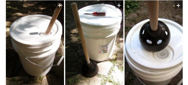 You can make your own portable washing machine with just a bucket and a plunger.