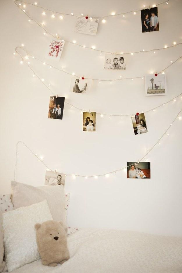 7. If you want to forgo frames, just clip photos onto a strand to display.
