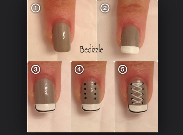 So easy all u need is a base coat white nail varnish and a black nail art pen! Hope this is helpful!