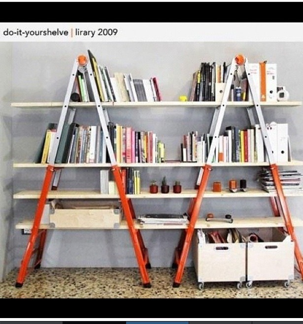 This is my favorite two ladders with wood going threw which you can paint before and there a couple shelves.