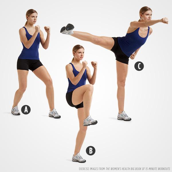 Side Kick:Complete 15 kicks, then switch sides.