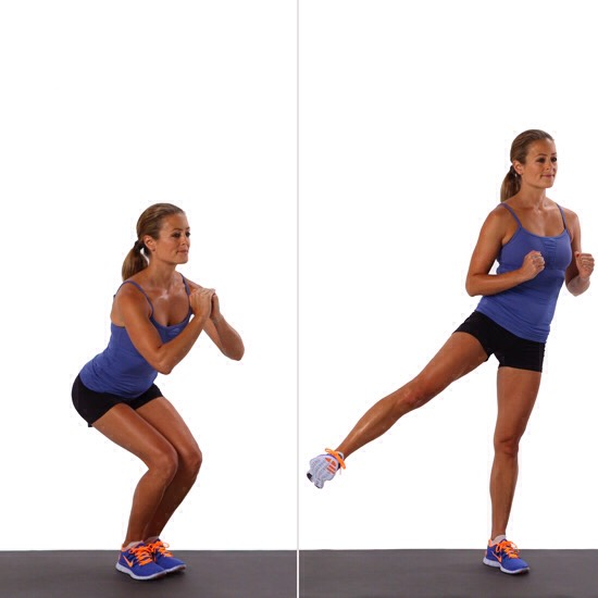 25 narrow squat leg lifts (each leg)