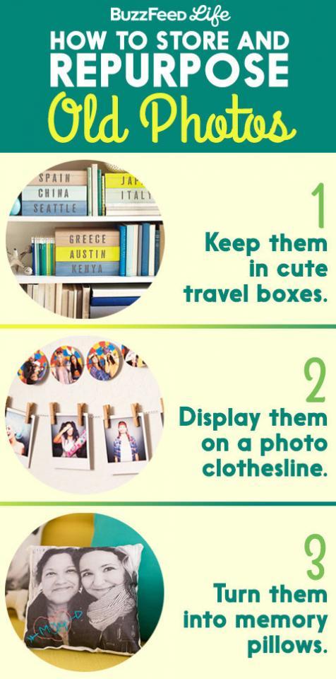 1. Three ingenious ways to reuse old photos: