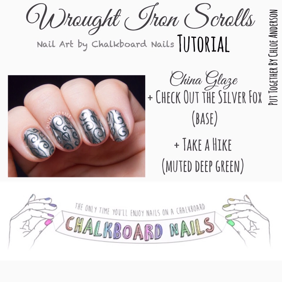Check it out HERE | www.chalkboardnails.com/2015/10/wrought-iron-scrolls-with-china-glaze.html?m=1