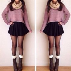 - sweater -scarf -boots -skirt