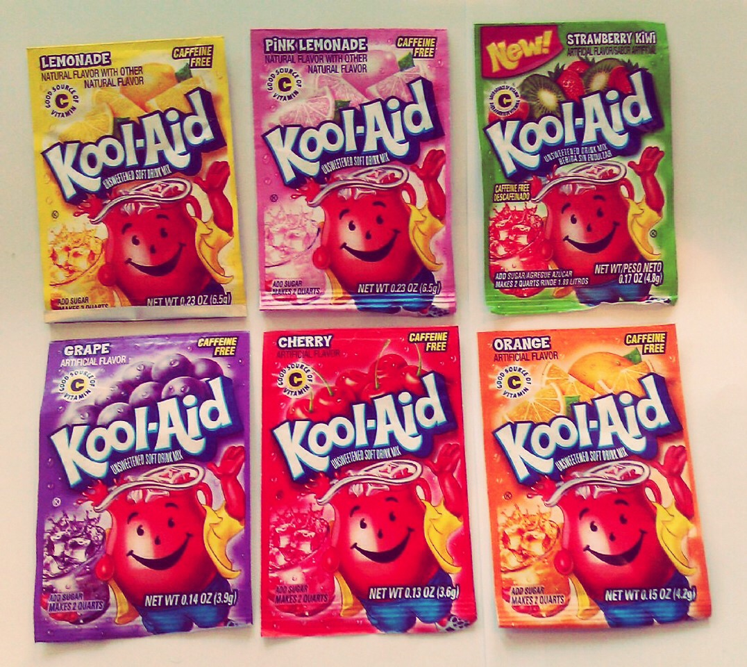 Choose two packets of kool-aid. (I personally did tropical punch and strawberry) Section your hair into sections. Mix the packets with the boiling water.