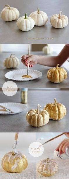 Buy white pumpkins. Combine gold glitter and school glue on a paper plate. Use paint brush to brush on the mixture. Add more glitter on the wet pumpkins if desired. Let dry and enjoy your pretty fall decor!
