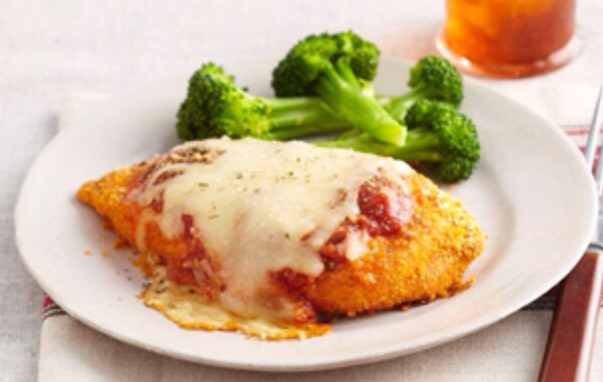 Make It Heat oven to 400°F. Coat chicken with coating mix as directed on package; place in 13x9-inch pan.  Bake 20 min. or until chicken is done (165°F).  Top with remaining ingredients; bake 5 min. or until mozzarella is melted.