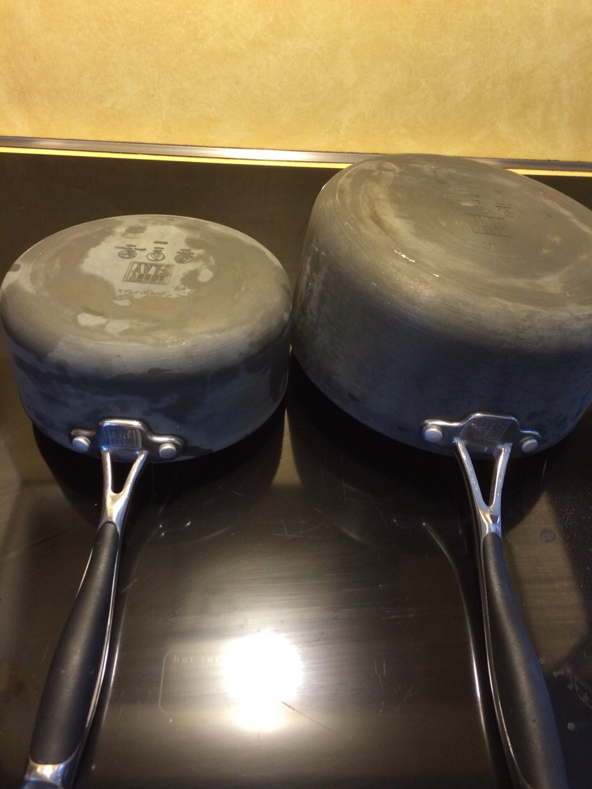 Does you pots and pans get that white appearance to them after they run through the dishwasher a few times? I like to hand wash mine but once in a while I like them sanitized. But it pulls all the oils out of the pots and pans.