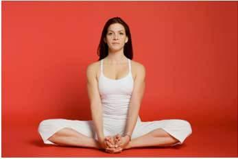 9. BaddhaKonasana (Cobbler's pose): Sit on the floor with your knees bent so that both the soles of your feet are facing each other. Keep your spine elongated ensuring that your posture is straight. Press the soles of your feet together and hold this pose for a minute.