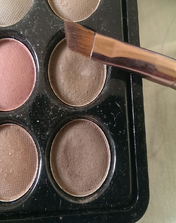 use two shades of matte eyeshadow, for brows:) make sure they match your eyebrow colour