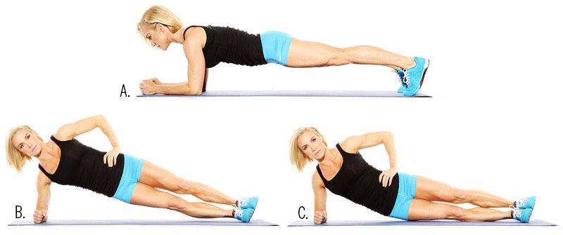 RollingPlank Exercise: •Take your position on the floor or a mat in such a way that your knees and elbows are resting on the ground. •You need to look forward so that your neck is aligned with your spine. •Now lift the knees up so that you support your legs now on your toes. •Now contract your knees and keep it in this plank pose for about 30 seconds. Make sure that you breathe •normally during this routine. •Now move to and fro for the next half a minute to constitute a rolling plank exercise.