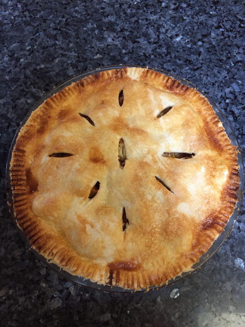 Ingredients: 2 cups flour 2/3 cup crisco 1 teaspoon salt  4-6 tablespoons water (depends how flaky you like your crust) 4-8 apples depending on size 3 tablespoons butter 2 teaspoons nutmeg 3 tablespoons cinnamon  3-5 tablespoons sugar (depends how sweet you want your pie) 1 egg 1/3 cup milk