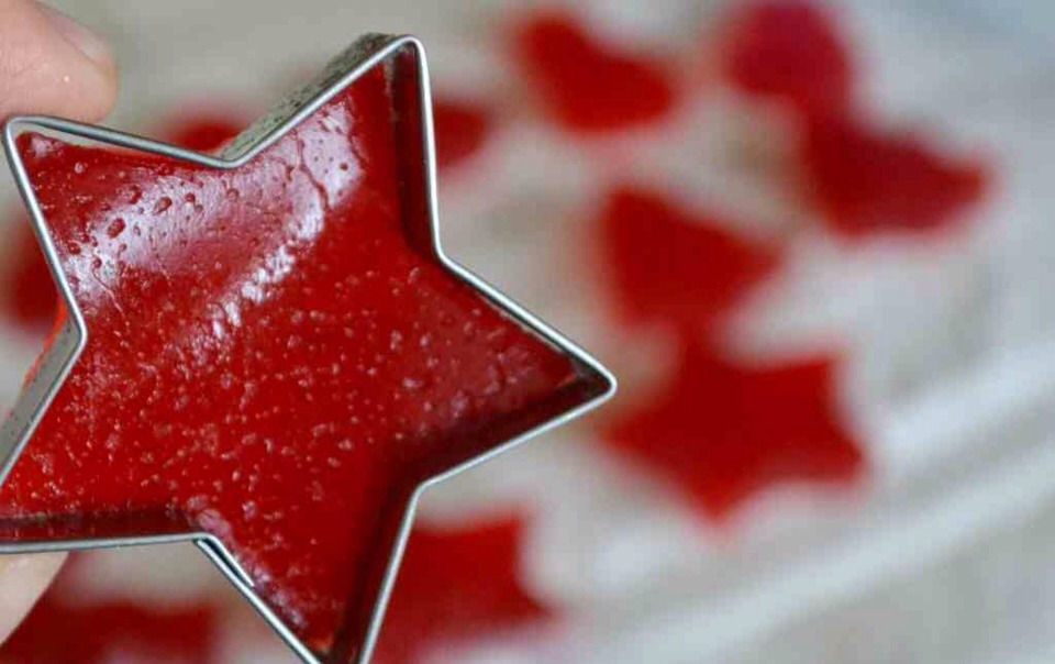 Use small, sharp cookie cutters to cut out gumdrops.  It helps to dip the cutters into hot water first.