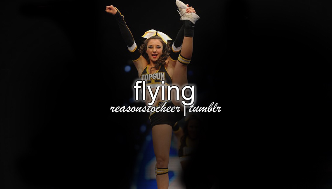Flying is now apart of me. i've grown and i've almost grown out of my position but i try so hard to stay flexible and in shape.  and just so everyone is clear, you do not have to be a stick to fly. i am by no means a stuck. i'm more like a tree trunk. (:   Cheer Athletics Swooshcats 2016-17