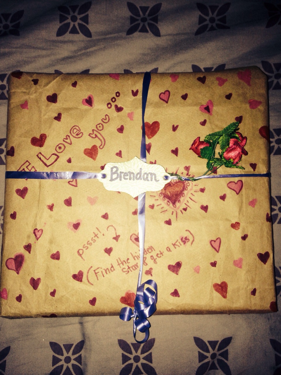Make wrapping paper out of a paper bag! Personalize it for an even special gift. Tip: make a game to find a hidden object  in the paper for a prize