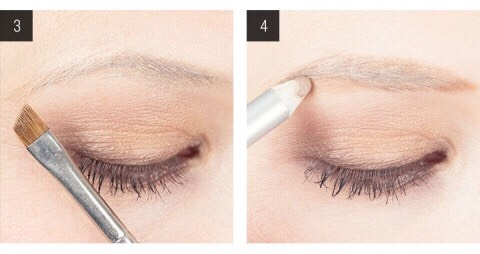 3. Figure out where the tail of your brow should end. Using the same brush in step two, direct the tip of the brush toward the outer corner of your eye at a 45 degree angle. 4. Use an eyebrow pencil to draw the brow shape. Lightly fill in sparse spots of your brow with a blonde pencil.