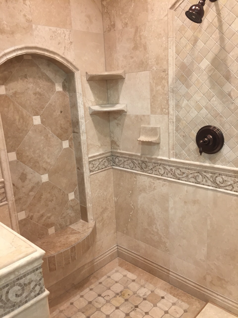 It's a beautiful dual shower that looks like something you would find in a beautiful mansion in Italy