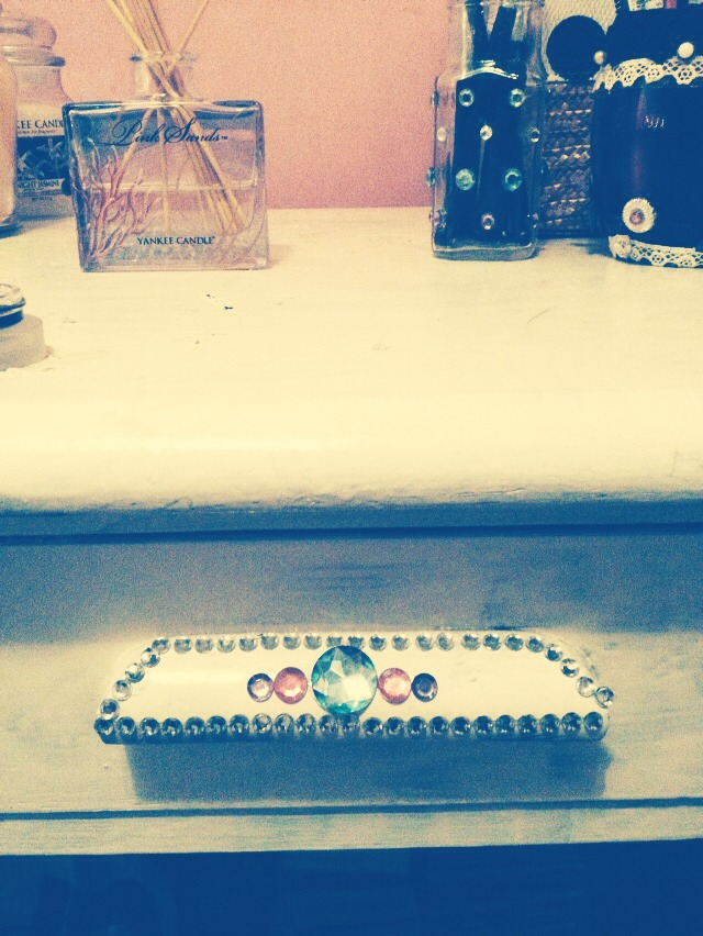Old desk refreshed with white paint and gemstones again bought from a pound store!