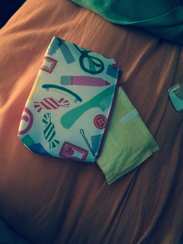Tampons/pads and a small bag to hide them in when its that time of the month