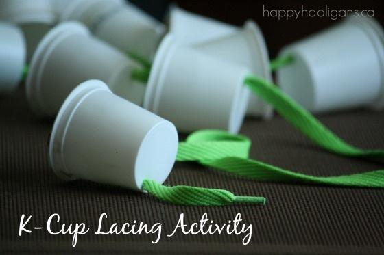 1. Pair your K-cups up with a shoelace, and you have a fine-motor lacing activity for toddlers or preschoolers.