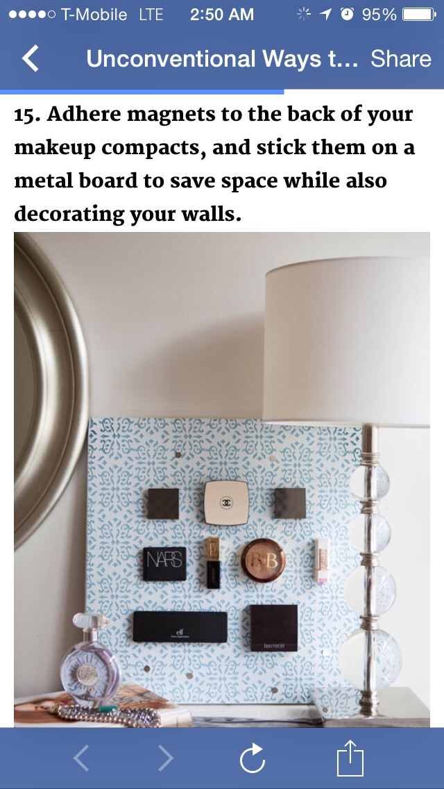 Adhere magnets to the back of your makeup compacts, and stick them on a metal board to save space!