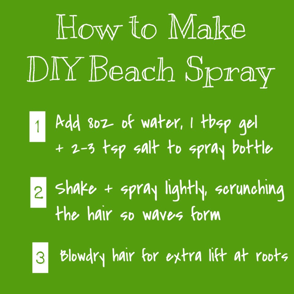 BEACH SPRAY | Add 8-ounces of water, 1 teaspoon gel + 2 to 3 teaspoons of salt to a spray bottle. Shake it up + spray it on for instant beach texture! When applying, spray lightly, scrunching the hair to allow your waves to form. You can also blowdry it in for fullness + lift at your roots.
