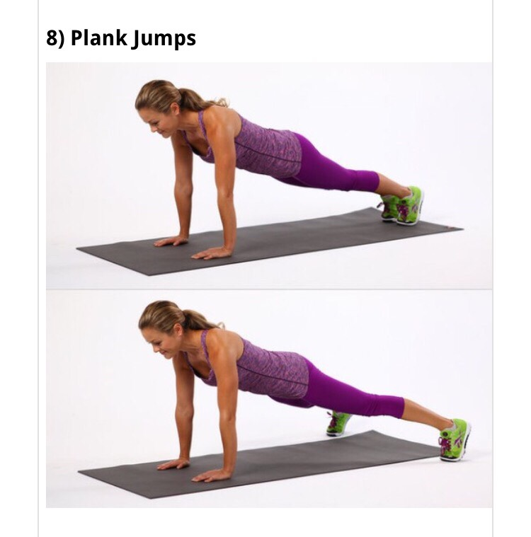 •Start in a plank position with your shoulders over your wrists. •In a Jumping Jack motion,jump your legs wide and then back together. Note: Jump as quickly as you can. Don't rise your booty.