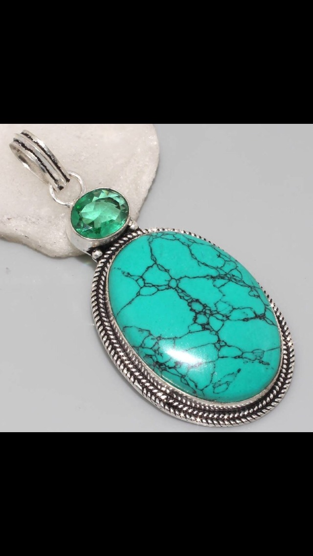 Handmade, turquoise & sea green quartz, 925 sterling silver, vintage style, £8.99 plus postage