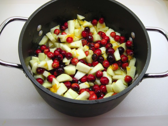 5. Add the maple syrup.  Everything is in the pot, ready to cook!