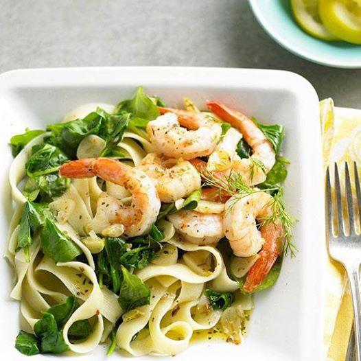 Combining quick-cooking seafood with pasta is a great way to get 30-minute meals on the table.