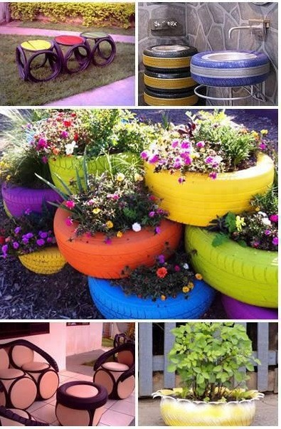 Thin tires can be attached together to make small tables for the garden (great for kids!)  Use an old tire as an outer ring for an outside washing up area  Painted in different colors, tires can give you a beautiful flower arrangements for your garden  Create an outdoor table and chair set