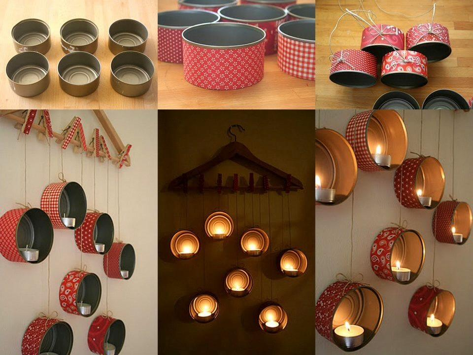 wrap any cute containers, like tuna containers in desired gift wrps or artistic papers, hang on wall and use as candle stands,...make an impression :) plz like