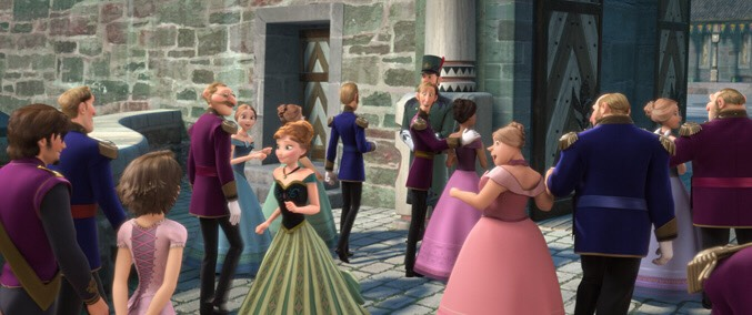 Rapunzel from Tangled makes an appearance at Elsa's coronation.