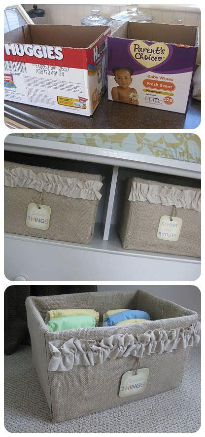 Aimee at 'My Pink Life' made these burlap covered storage boxes from simple cardboard boxes! Very cheap, and she shows you how to do it, right down to the little ruffle detail. Boxes like these would be quite pricey at a boutique…