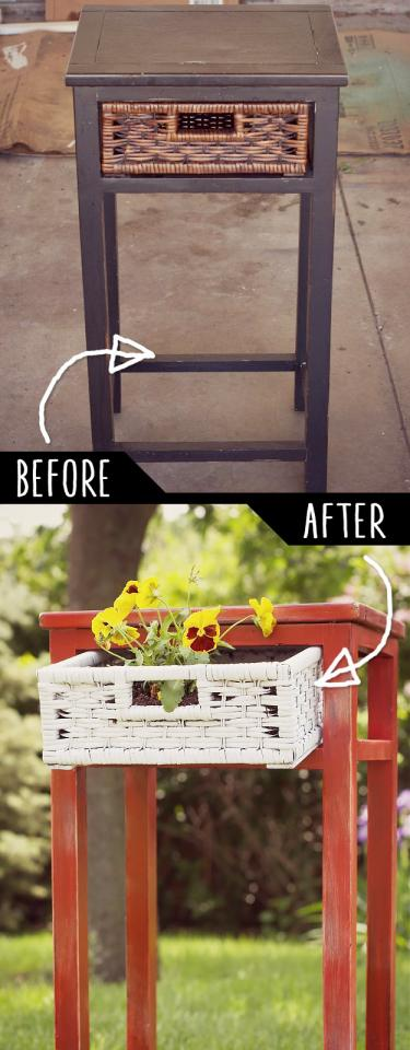 Upcycled Side Table Into Planter  http://offbeatandinspired.com/2013/05/31/diy-upcycled-side-table-planter/