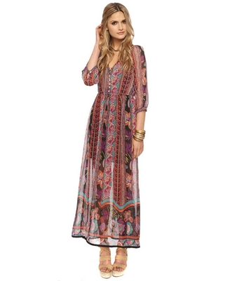 Bold print boho maxi dress, wear alone or with a fleece or fur vest. and wear with fringe booties.