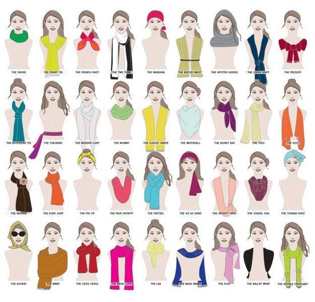 36. How many ways are there to wear a scarf? A MILLION WAYS.
