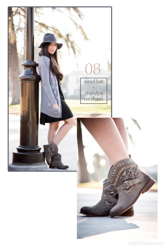 Grandpa cardigan and wool hat with flat embellished ankle boots A fun approach to wearing embellished boots is with grandpa inspired pieces such as a long cardigan and shirt plaid scarf. Pair your cardigan and scarf with a wool hat and you're good to go.