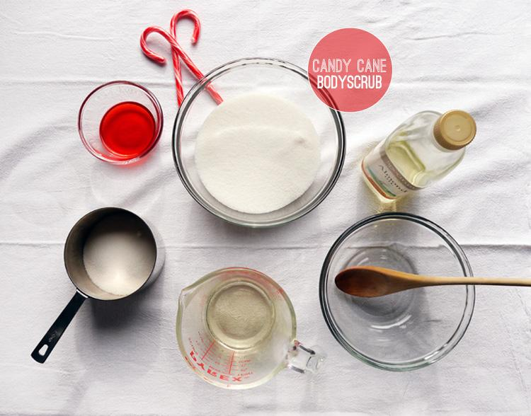 2 cups granulated sugar, sea  salt, or raw sugar (Choose favorite exfoliant base)  1/3-1/2 cup almond or coconut oil. *Use whichever oil you like best. Add more or less until you reach a likable consistancy  Peppermint essential oil- about 6 drops  Two candy canes broken into pieces.