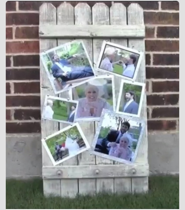 DIY wood fence panal photo frame display. This is of the bride and groom, but you can have pictures of family, friends, pets, etc.