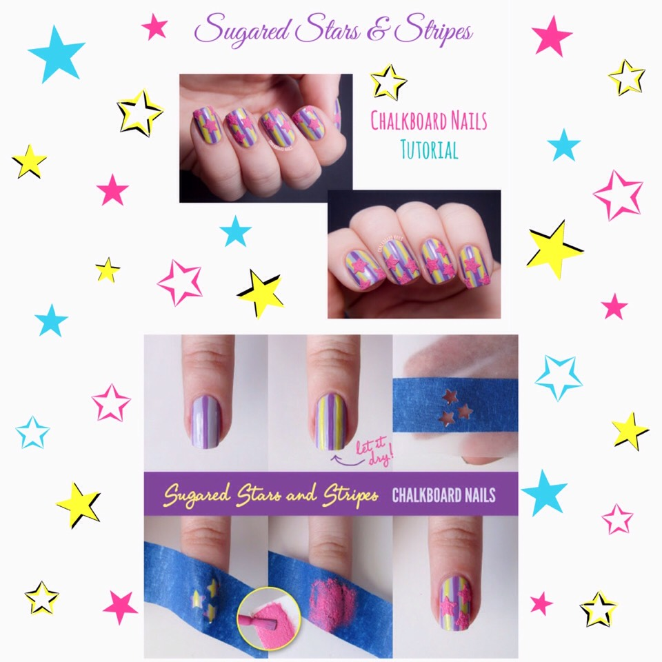 For adetailed picture tutorial on Sugared Stars & Stripes, VISIT |www.chalkboardnails.com/2013/06/tutorial-sugared-stars-and-stripes.html?m=1  For a video tutorial, check out the video below!