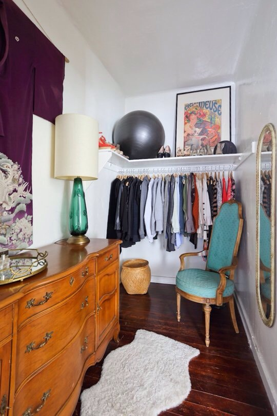 14. Keep your closet in shape by treating it like a small room. Pay attention to lighting, wall color, and floor coverings.