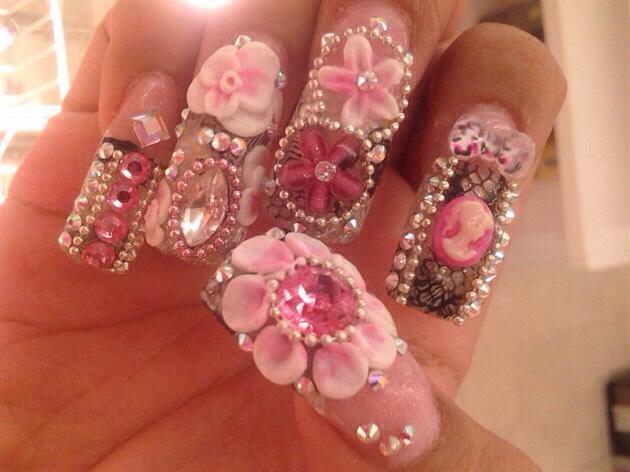 Glitz And Glam Nails With Rhinestones
