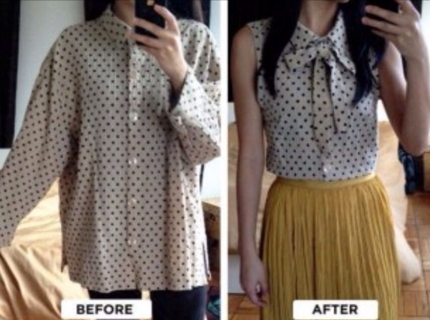 164dcf44dd705b DIY  Turn Your Baggy Button Up Shirt Into A Cute Tank Top Blouse ...