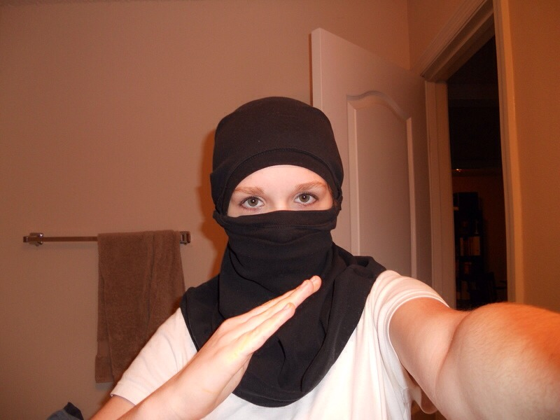 A ninja mask is a black mask that covers your entire head except for your eyes and nose. You can use a simple black t-shirt to make a ninja mask.